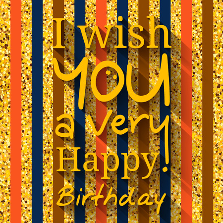 welcoming party: Happy birthday greeting card. Wishing in black circle on golden pattern, texture.
