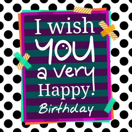 felicitaciones cumpleaÑos: Feliz tarjeta de saludos de cumpleaños en el fondo de puntos. Pegatinas y papel para su texto.