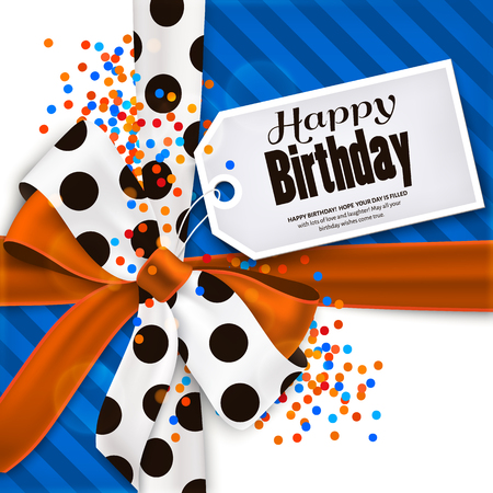 bow ribbon: Happy birthday greeting card and text on tag, label, sticker. Orange bow and ribbon with black polka dots made from silk. Multicolored confetti.