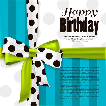 幸せな誕生日のグリーティング カード。緑弓とシルクから作られた黒の水玉模様のリボン。ストライプとドットの紙。