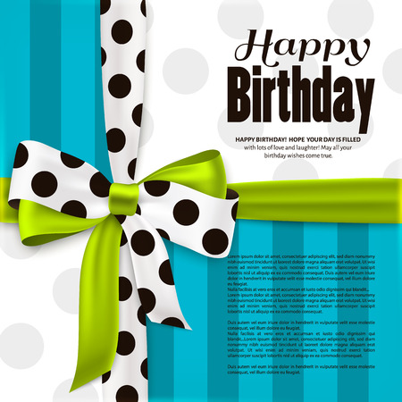 Happy birthday greeting card. Green bow and ribbon with black polka dots made from silk. Stripes and dotted paper.