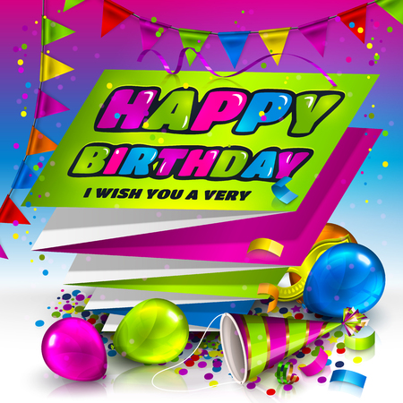 harmonica: Happy birthday greeting card. Text on folded harmonica paper. Colorful balloons, hat, carnival mask, confetti and bunting flags.