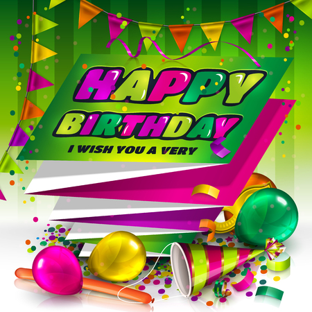 Happy birthday greeting card. Text on folded harmonica paper. Colorful balloons, hat, carnival mask, confetti and bunting flags.