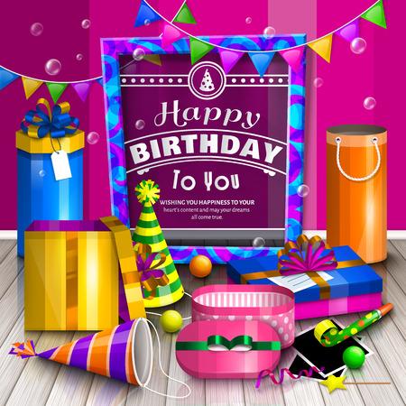 tarjeta de felicitación del feliz cumpleaños. Pila de cajas de regalo de colores envueltos. Un montón de regalos. sombreros de fiesta, marcos de fotos, burbujas de jabón, jugando a la pelota y colorido marco para el texto en el piso de madera. Ilustración de vector