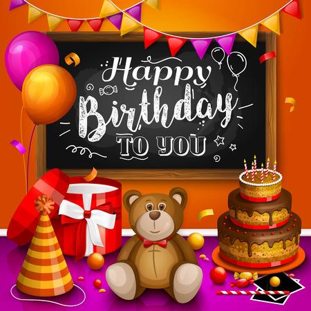 marco cumpleaños: tarjeta de felicitación del feliz cumpleaños. colorida caja de regalo. Un montón de regalos. sombrero de fiesta, marcos de fotos, burbujas de jabón, oso de peluche, torta, jugar a la pelota y el marco de madera, pizarra para el texto.