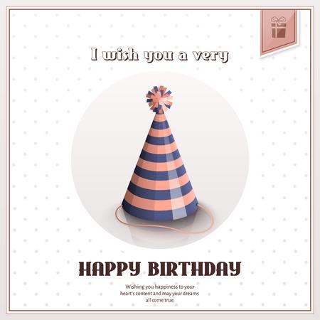 Carte de voeux de joyeux anniversaire avec un chapeau rayé festif.