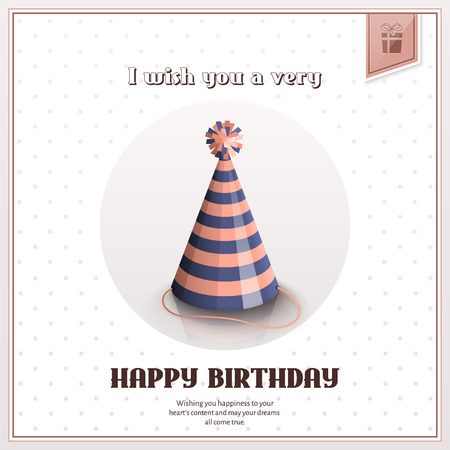 Happy birthday greeting card with festive stripy hat.