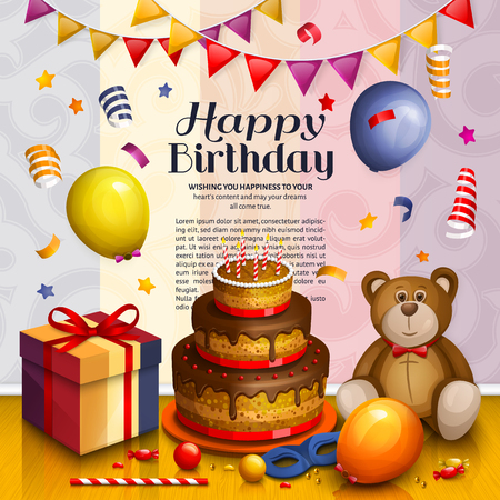 Happy birthday greeting card. Pile of colorful wrapped gift boxes. Lots of presents and toys. Party balloons, playing ball, bunting flag, teddy bear, cake, masquerade, candy and confetti. Ornament background.