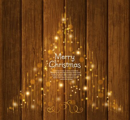 WOOD BACKGROUND: Abstract Christmas tree made from lights and gold line on wooden background. Illustration