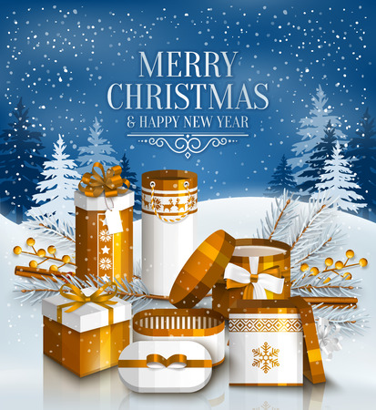 yellow landscape: Merry Christmas card with pile of white and golden wrapped gift boxes, fir branches and yellow berries. Snowy landscape.