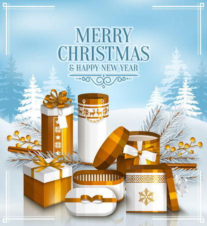 yellow landscape: Merry Christmas card with pile of white and golden wrapped gift boxes, fir branches and yellow berries. Snowy landscape. Scandinavian pattern. Illustration