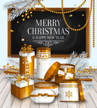 postcard box: Merry Christmas card. Pile of white and golden wrapped gift boxes, fir branches and yellow berries. Wishing on chalkboard, blackboard.