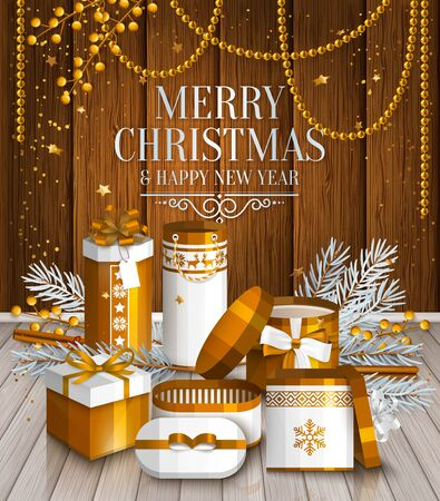wishing card: Merry Christmas card. Pile of white and golden wrapped gift boxes, fir branches and yellow berries. Wishing on wooden background.