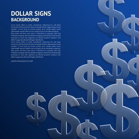 transparency: Vector background with glossy, transparent dollar signs.