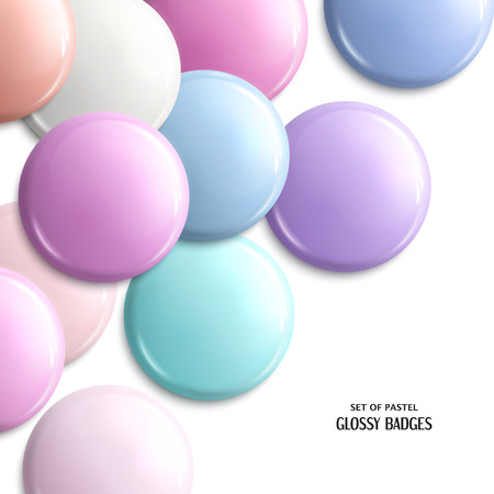 pastel shades: Vector set of blank, glossy badges or web button. Pastel shades.