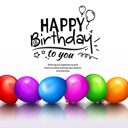 stilish: Happy birthday greeting card. Party multicolored balloons and stilish lettering. Vector. Illustration