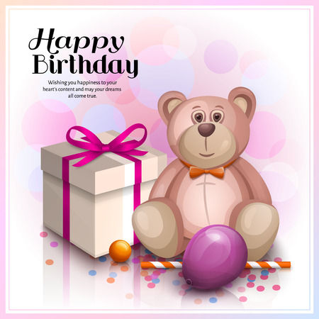 Happy Birthday Greeting Card Gift Box With Pink Ribbon Cute