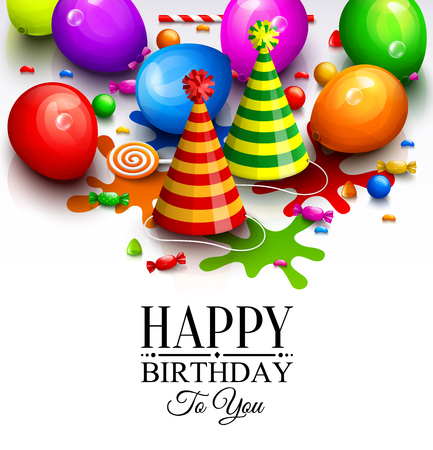 multicolored: Happy birthday greeting card. Party multicolored balloons, hat, paint splashes, candy, lollipop and stylish lettering. Vector. Illustration