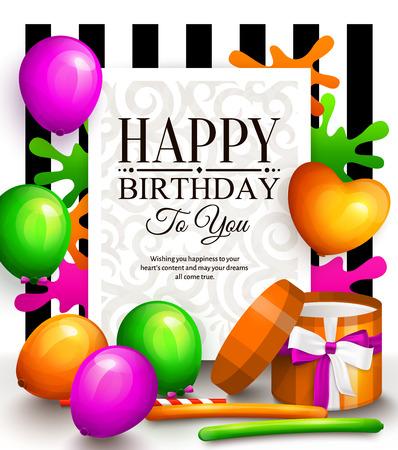 Carte de voeux anniversaire. Ballons multicolores de fête, flûtes colorées, boîtes à cadeaux enroulées et lettrage élégant sur pointillé