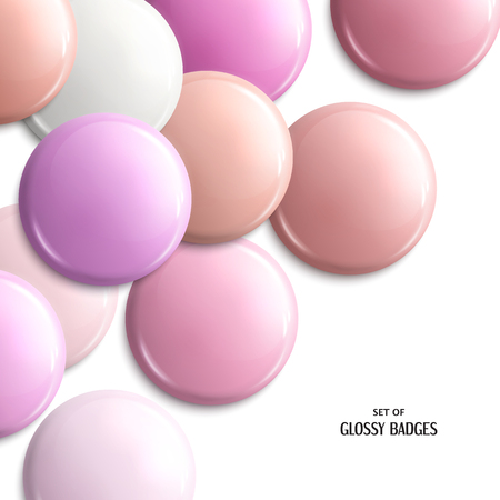 Vector set of blank, glossy badges or web button. Pink pastel shades. Illustration