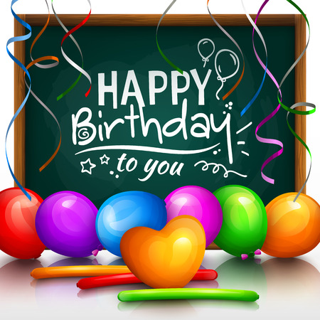 party streamers: Happy birthday greeting card. Party multicolored balloons, colorful streamers and stylish lettering on chalkboard.