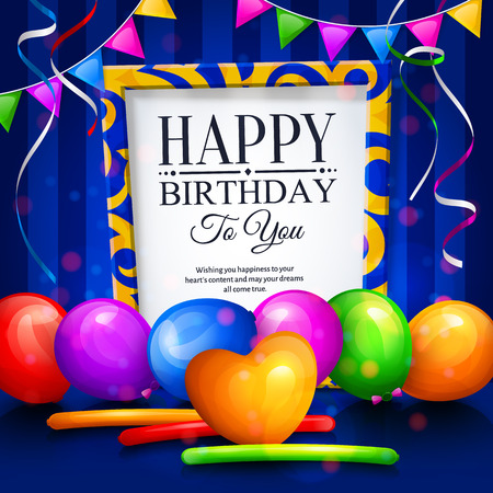 party streamers: Happy birthday greeting card. Party multicolored balloons, colorful streamers, bunting flags and stylish lettering in frame. Illustration