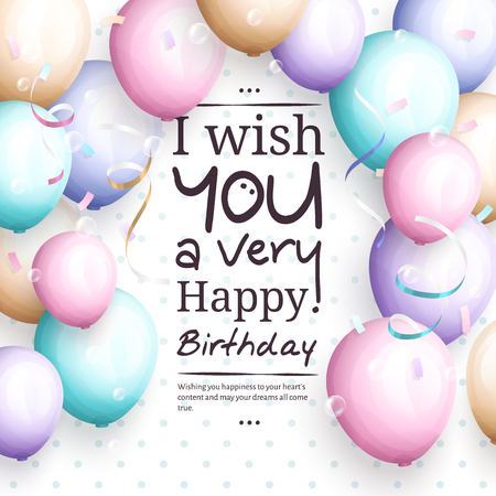 streamers: Happy birthday greeting card. Retro vintage pastel party balloons, streamers, and stylish lettering. Vector.