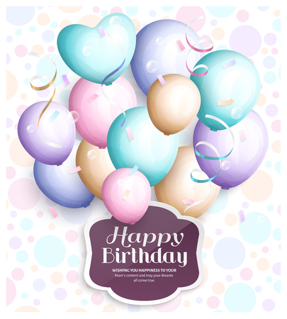 party streamers: Happy birthday greeting card. Retro vintage pastel party balloons, streamers, paper label with stylish lettering. Vector.
