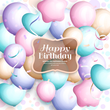 party streamers: Happy birthday greeting card. Retro vintage pastel party balloons, streamers, transparent frame with stylish lettering. Vector. Illustration