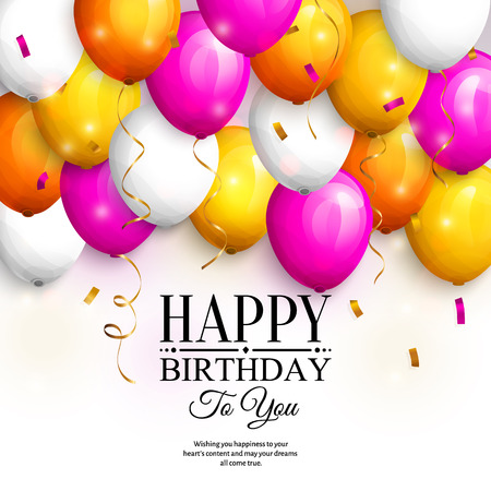 Happy birthday greeting card. Party colorful balloons, streamers, confetti and stylish lettering. Illustration