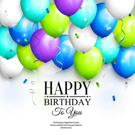party streamers: Happy birthday greeting card. Party colorful balloons, streamers, confetti and stylish lettering. Illustration