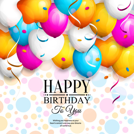 party streamers: Happy birthday greeting card. Party colorful balloons, streamers, confetti and stylish lettering on dotted background. Illustration