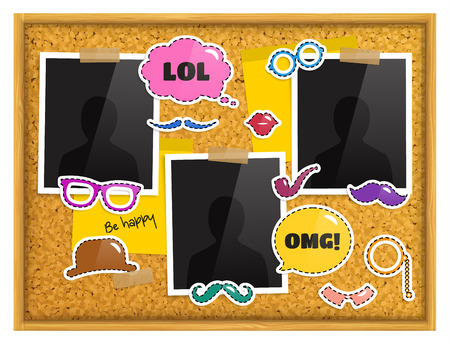 Cork notice board with photo frames, patches or stickers, sticky notes and scotch tape. Vector.
