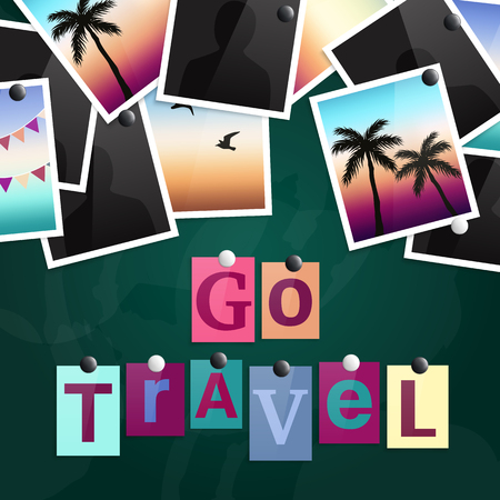 A pile of photographs attached to a blackboard with magnets. Go Travel made from newspaper letters. Vector. Illustration