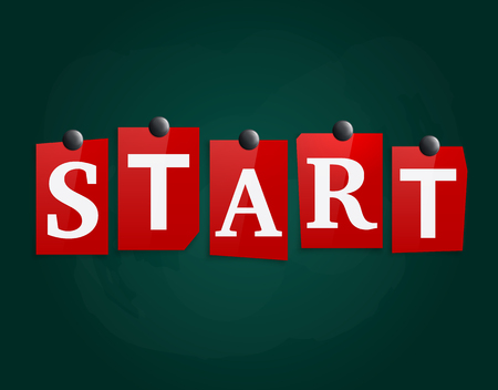 The word Start made from newspaper letters attached to a blackboard or noticeboard with magnets. Vector.