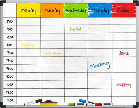 pinboard: Planner template on whiteboard with color marker pens. Vector.