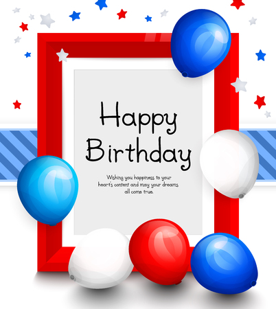 blue party: Happy birthday greeting card. Party multicolored balloons, red frame for your text, blue ribbon on background. Vector.