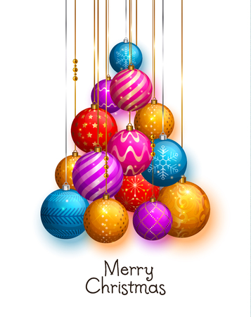 Christmas tree made of hanging baubles Vector illustration.