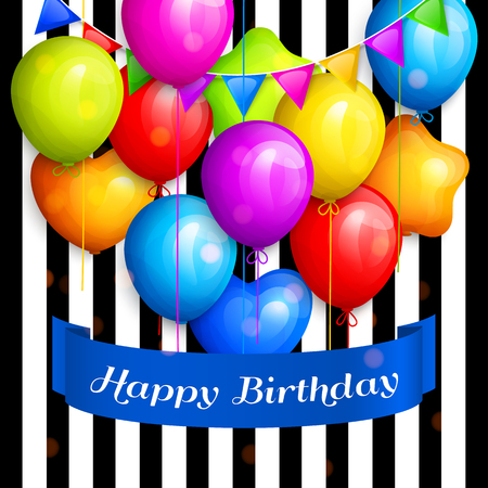 Bunch of colorful birthday balloons and color buntings flags on striped background. Vector.