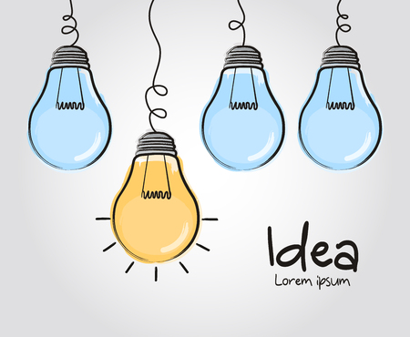 Light bulbs with one glowing different idea. Doodle hand drawn sign.