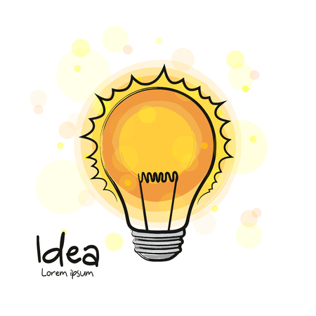 Glowing light bulb icon. Hand drawn sign. Creative idea and innovation.