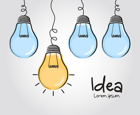 Light bulbs with glowing one different idea. Doodle hand drawn sign. Vector.