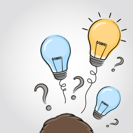 Thinking head with question signs and light idea bulb above. Hand drawn sign. Vector.