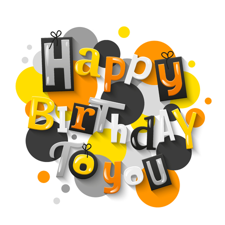 Happy birthday color letters with polka dots on background. Vector.