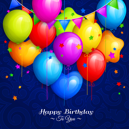 Bunch of colorful birthday balloons with stars and colorful buntings flags on blue background.