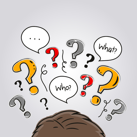 Human head with a lot of questions. Stock Illustratie