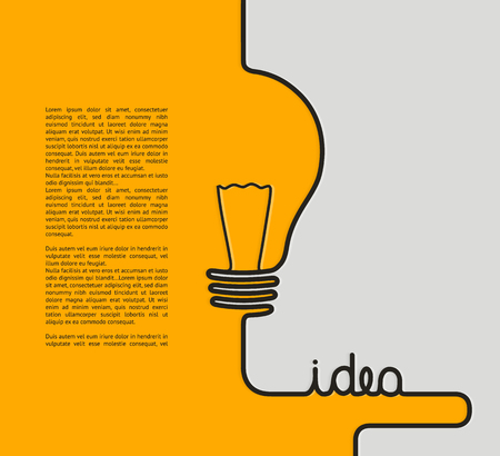 Idea concept. Wire forming a lightbulb and text idea.