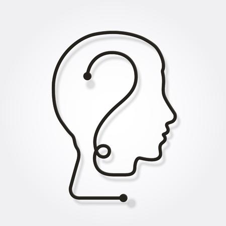 Eén lijn die een menselijk hoofd met vraagteken vormt. Stockfoto - 96673553