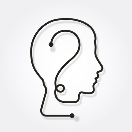 One line forming a human head with question mark. Illustration