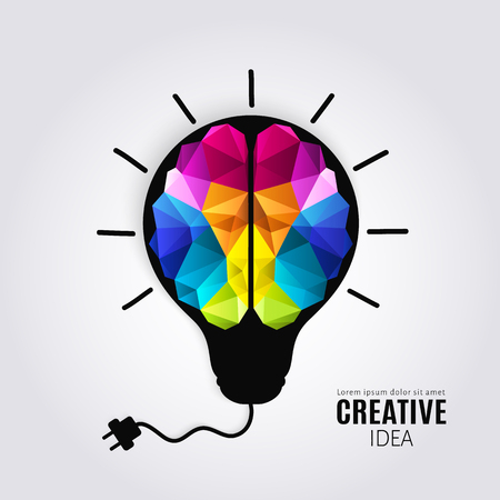 Creative concept of the human brain inside lightbulb with connected electricity wire. Polygon style.